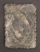 A Victorian silver card case. 9.5 cm high. 62 grammes.