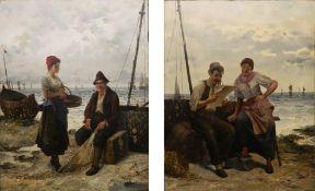 FRIEDERICH REGINALD DONAT (1830-1907) Belgian, Conversations on the Shore,