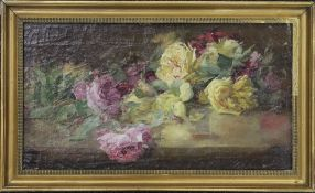 Roses, oil on canvas, indistinctly signed, framed. 49 x 27 cm.