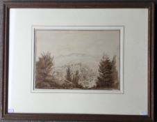 CHARLES SCHNEIDER (circa 1840), View of Baden, sepia pencil and wash, framed and glazed. 39 x 28 cm.