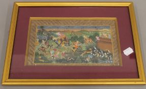A 19th century Indian watercolour depicting a hunting scene, framed and glazed. 23.5 x 13.5 cm.