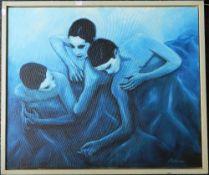 FRANK PETHICA, Danse Blue, oil on canvas, framed. 73 x 62 cm.