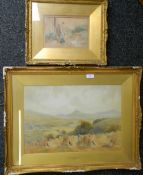 Two watercolours: F ANGELL, Nr Sutton Courtnay, Devon,