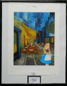 Van Gogh Cafe with Alice in Wonderland, print, signed, framed and glazed. 44.5 x 32 cm.