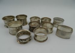A quantity of silver napkin rings. 156.3 grammes.