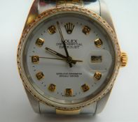 A Rolex datejust bi metal gentleman's wristwatch,