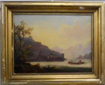 19TH CENTURY, Lake Scene, oil on canvas, framed. 38.5 x 28.5 cm.