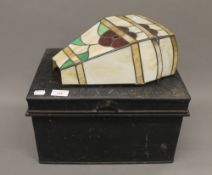 A Victorian tin deed box and a pair of wall lights. The former 37 cm wide.