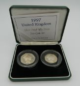 A 1997 silver proof 50 pence two coin set.