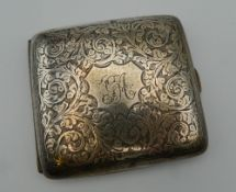 A silver cigarette case. 9 cm wide. 101 grammes total weight.