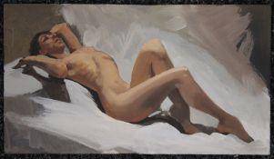 Nude Study, oil on board, unframed. 22.5 x 13 cm.