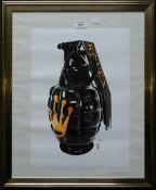 Rolex Grenade, print, signed, numbered 30/100, framed and glazed. 29.5 x 41.5 cm.