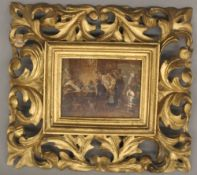 A 19th century Continental gilt framed miniature picture of a Tavern Interior Scene.