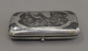 A Russian silver niello box. 10 cm wide.