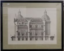 Four framed architectural prints. The largest 73 cm wide.