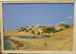 SNOW, Mediterranean Scene, signed and dated 1979, oil on canvas, framed. 72 x 49 cm.