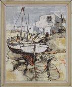 BERNARD DUFOUR, Fishing Boats on a Mediterranean Beach, oil, signed, framed. 36 x 45 cm.