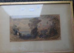 19TH CENTURY SCHOOL, European Castle, watercolour, monogrammed, framed and glazed. 40.5 x 20.5 cm.