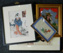 A quantity of Japanese and other Oriental pictures and prints.
