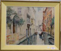 A Venetian Canal Scene, oil on canvas, indistinctly signed, possibly LINO MUZZIA, framed.