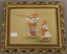 A 19th century Indian watercolour depicting a gentleman shooting and an attendant,