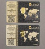 Two fine 999 ct gold 1 gram ingots