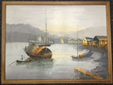 An Eastern Scene, oil, framed; together with various other prints and pictures.