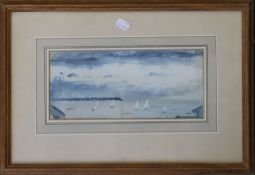 A collection of four watercolours including 'Yachts off Whitstable' and 'Passing the Woods,