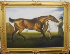 After GEORGE STUBBS (1724-1806), The Rubbing Down of Hambletonian, oil on canvas, framed. 102 x 73.