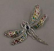A silver plique-a-jour dragonfly pendant. 4.5 cm high.