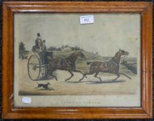 A pair of Victorian maple framed prints. 43 x 34 cm overall.