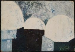An Abstract oil on board, signed AW 71. 61 x 42 cm.