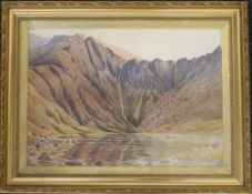 JOHN WILLIAM NORTH (1842-1924) British, Lake Scene with Mountains Beyond, watercolour,