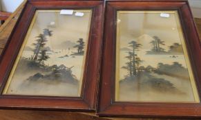 A pair of Japanese pictures, Mountainous Lake Scenes, signed, framed and glazed. 16.5 x 31.5 cm.