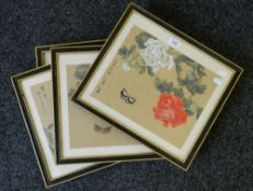 Four framed Chinese prints. Each 38.5 x 34.5 cm overall.