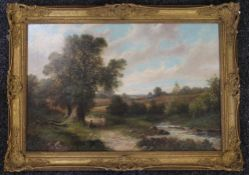 R PERCY, Landscape with Stream and Figures, oil on canvas, framed. 72 x 50 cm.