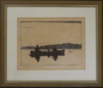 NORMAN WILKINSON, Land Locked Salmon, Maine, etching, framed and glazed. 22 x 17 cm.