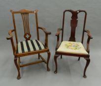 Two Edwardian open armchairs.