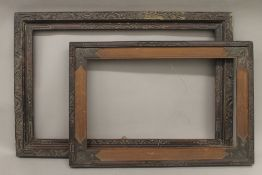 Two Chinese carved frames. The largest 58.5 x 89 cm.