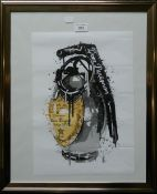 Dom Perignon Splash Grenade, print, signed, framed and glazed. 29.5 x 41.5 cm.