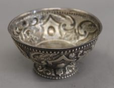 A Continental antique embossed silver footed bowl. 12 cm diameter. 126.8 grammes.
