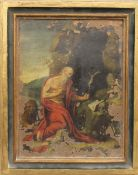 A 17th/18th century oil painting on copper depicting Saint Jerome, framed. 17 x 23 cm.