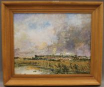 Ely Cathedral, oil on canvas, initialled RYA, framed. 48 x 38 cm.