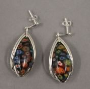 A pair of silver and glass earrings. 3 cm high.