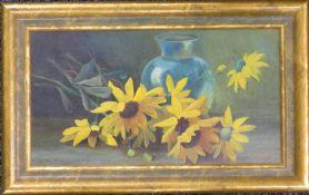 W T BROCKLEBANK, Still Life, oil on board, framed. 30 x 16 cm.
