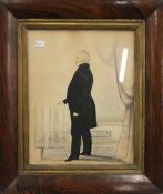 A 19th century naive watercolour of a gentleman, framed and glazed. 18.5 x 24 cm.