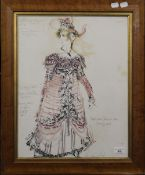 Stage Costume Design, watercolour, indistinctly signed, framed and glazed. 37.5 x 48 cm.