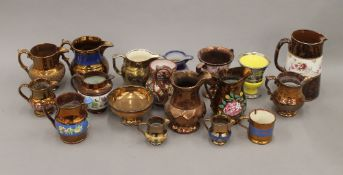 A collection of copper lustre pottery, etc.