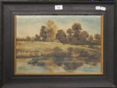 Two Victorian oil paintings, Rural Scenes, both framed. The largest 62 x 24.5 cm.
