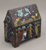 A 19th century French enamelled decorated chasse. 15.5 cm wide.